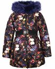 Lisa-Rella Girls' Quilted Coat in Butterfly Print with Fake Fur, Sizes 6-16