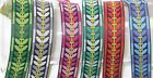 """Jacquard Ribbon 1"""" (25mm) 100% Poly - Sycamore Pattern   *COLORS* 18 meter ROLL."""