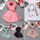 Women Scarves Soft Ethnic Style Floral Embroidery Cotton Linen Shawl TXSU
