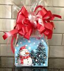 Christmas Snowman Gift Box -Basket Filled With Candy & WRAPPED W/ BOW & CARD