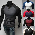 Unique Raglan Sleeve Men's Long Sleeve T-Shirts New Stylish Casual Slim Fit Tops