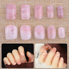 24pcs Pink Marble Designer False Nail Tips Finger Decoration Art Full Cover