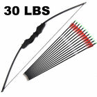"""30/40lbs Hunting Recurve Bow Archery Right Hand Spine 500 Carbon Arrows 30"""" Set"""