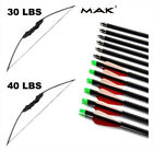 "30/40lbs Hunting Recurve Bow Archery Right Hand Spine 500 Carbon Arrows 30"" Set"