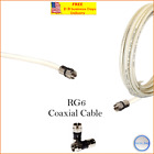 RG6 PPC F Black-White Coaxial Coax Cable Wire Satellite HD Antenna TV 0.5ft- lot