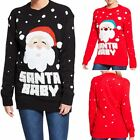 New Womens Santa Baby Christmas Novelty Knitted Jumpers Sweater Xmas Sweater