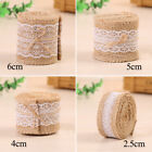 Jute Burlap Natural Hessian Ribbon w/ Lace Trim Edge Wedding Rustic Vintage HOT