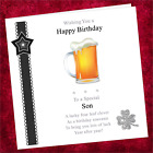 Personalised Handmade Birthday Card CJ001 / Adult Male / Beer Lager Glass Drink