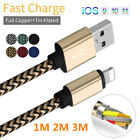 3/6/10FT Strong Braided Quick Charger Data Cable Cord For iPhone 6s 7 8plus ipod