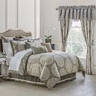 WATERFORD LINEN DARCY QUEEN King 4 PIECE COMFORTER SET PEWTER Sham bed skirt New
