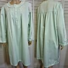 NWT $44 MISS ELAINE SHORT NIGHTGOWN 1X 2X 3X MINT BRUSH BACK SATIN EMBROIDERED
