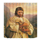 180CM Jesus Theme Shower Curtain Set Polyester Curtains-- Hold Docile Sheep