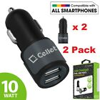 2x Cellet Universal High Power 10Watt 2.1A Dual USB Port Cell Phone Car Chargers