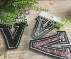 Capital Letter Alphabet V Rhinestones Sequin Embroidered Iron On Patch Applique