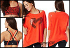 ZUMBA 2Pc.SET Z-Bra Top  Off the Shoulder HEART Tee Top - Rev Me Up Red -RARE
