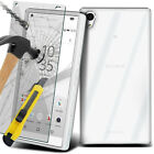 Transparent Clear Soft Cover Case + Tempered Glass Protector For Sony Samsung