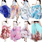 Women Skirt Full Ankle Length Blending Maxi Chiffon Long Skirt Beach Size S-3XL