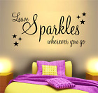 GIRLS WALL ART STICKER SPARKLE QUOTE DREAM PHRASE WORDS SAYINGS HOME DECOR DIY