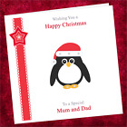 Personalised Handmade Christmas Card NU003 / Merry Happy Xmas Childrens Penguin