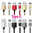 US 3/6FT Type C/ iOS / Micro USB Round Magnetic Charger Cable For Samsung iPhone