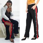 Womens Ladies Side Opening Popper Striped Elasticated High Waisted Trouser