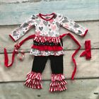 Girls Valentines Heart Ruffle Pants Outfit Headband Necklace 2T 3T 4T 5 6 7 NEW