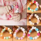 Natural Wooden Crochet Baby Teether Wood Teething Bracelet Ring Rattle Chew Toy