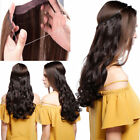 """15""""-24""""Invisible wire 100% Remy Hair Extension Wire band wavy human hair piece"""