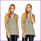 New Khaki Ladies Sleeveless Top & Chain Blouse Evening Womens Stretch Size Uk 8❤