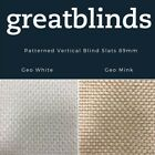 """Geo Patterned Vertical Blind Slats 89mm (3.5"""") Free Weights, Chains & Hangers"""