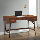 Coaster Mid-Century Modern Wooden Writing Desk with 3 Drawers and Angled Round