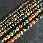 Faceted Multi-Color Fire Agate 6-10mm Loose Beads 15""