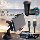 Car Charger, Micro USB Cable, Car Windshield 360°Phone Holder for LG Cell Phones