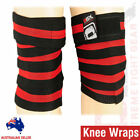 Weight Lifting Knee Wraps Straps Cotton Elasticated Bandages Gym Workout Pair