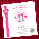Personalised Handmade Hen Night Card CN001 / Bride Party Do Lips Glasses Pink