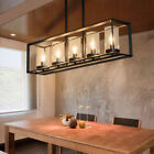 Black Metal 5-Light Kitchen/Dining Room Hanging Pendant Light with Glass Shade