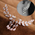 Women Crystal Zircon Leaves Tassel Dangle Charm Ear Stud Earrings