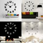 3D Modern Large Wall Clock Kit Mirror Surface Sticker Home Office Room Decor AS