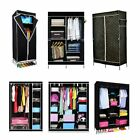 SINGLE DOUBLE TRIPLE CANVAS WARDROBE WITH HANGING RAIL HOME FURNITURE STORAGE