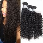 Brazilian Kinky Curly 3pcs Virgin Human Hair Deep Wave Extensions With Closure