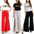 Womens Ladies Elasticated High Waisted  Side Split Zip Front Wide Leg Trouser
