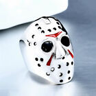 For Friday the 13th Jason Mask Silver Red Mens Punk Band Jewelry Wedding Rings