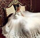 Luxury A Line Wedding Dress Vintage Court Train Lace Applique Long Sleeve Muslim
