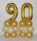 90th BIRTHDAY - AGE 90 - GOLD- WHITE  - FOIL BALLOON DISPLAY - TABLE CENTREPIECE