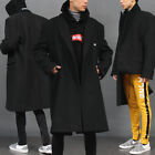 Men's fashion Double Button Loose Fit Half Fold Up Wool OverCoat, GENTLER SHOP