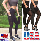 see thriugh yoga pants - Women Yoga Gym Sports Workout Leggings Running Fitness Stretch Pants With Pocket