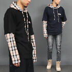 Men's Fashion Layered Check Shirt Styling Hooded Boxy Tee, GENTLER SHOP
