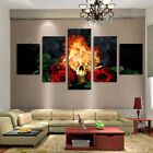 5 Pieces Fire Skull Red Rose Modern Canvas Art Picture Home Wall Decor Painting