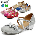 Girls Kids Childrens Mary Jane Glitter Low Heel Party Wedding Sandals Girl Shoes