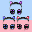 Kids Foldable LED Flashing Cat Ear Headphone Gaming Headset Stereo for Tablet PC
